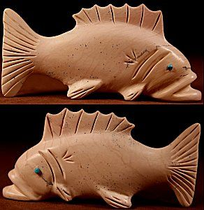 Unknown Carver | Fishrock | Fish  | Price: $125. +  $10.00  domestic shipping | Texas sales tax applies to Texas Residents! | CLICK  IMAGE for more views & information. | Authentic Zuni fetishes direct from Zuni Pueblo to YOU from Zunispirits.com!