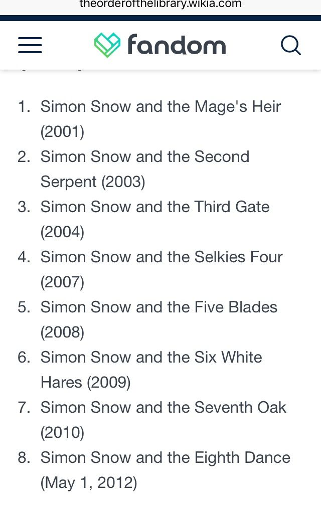 The order and year of Simon Snow Series by Gemma T. Leslie