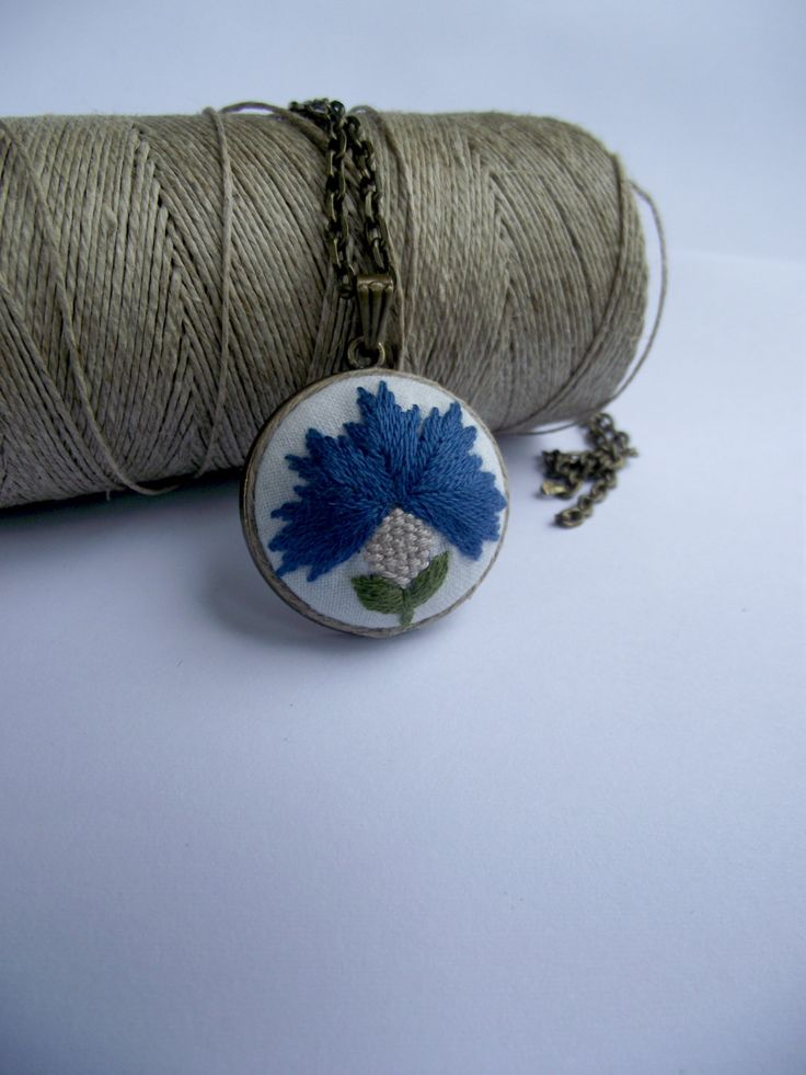 Embroidered pendant with cornflower by ZoZulkaart on Etsy