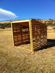 Our structures are about 9′ x 8′ and about 8′ tall in the front and 6′ in the back. They are made from recycled pallets that we can obtain for between $5 and $8 each. Only the steel roof of this structure is new material. The total hard costs (excluding labor) for these barns is less than $150, a one person can construct one with a circular saw and a hammer in less than 4 hours.