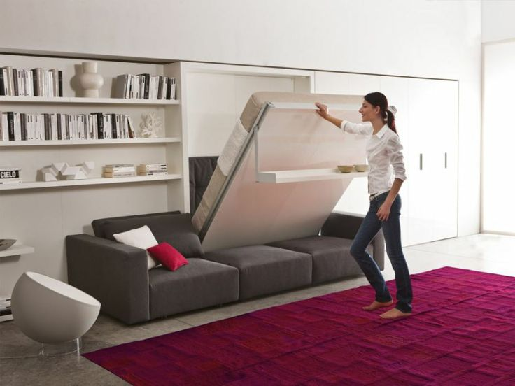 Hide   seek  The Swing Bed by Resource Furniture is a wall bed that  incorporates. 1000  images about Backroom ideas on Pinterest   Shelves  Swing