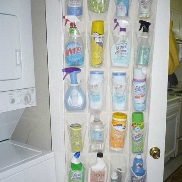 Shoe Organizer as Cleaning Product Rack. Love it for the inside of a broom closet!