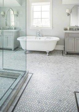 Carrara Marble Herringbone tile with border  Beautiful bathrooms  Marble bathroom floor White