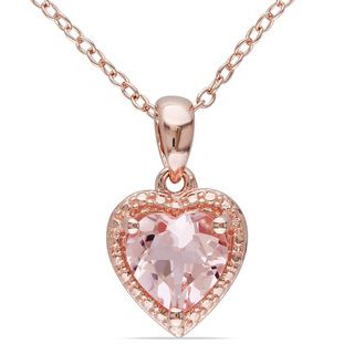 @Overstock.com - Miadora Rose-plated Silver Morganite Necklace - Show a little love with this pretty Miadora morganite necklace. This design features a heart-shaped pendant on an 18-inch cable chain and is set in pink-plated silver for a unique presentation that will add unique charm to any outfit in your closet. http://www.overstock.com/Jewelry-Watches/Miadora-Rose-plated-Silver-Morganite-Necklace/7966557/product.html?CID=214117 $87.99