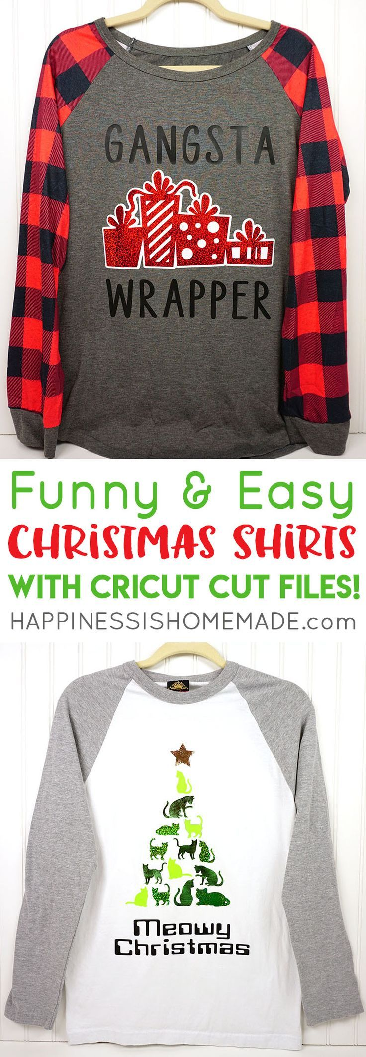 "When it comes to Christmas, are you a ""Gangsta Wrapper"" or a crazy cat lover who might wish people a ""Meowy Christmas?"" These DIY funny Christmas shirts are quick and easy to make with Cricut! Free Cricut Christmas cut files included! via @hiHomemadeBlog"