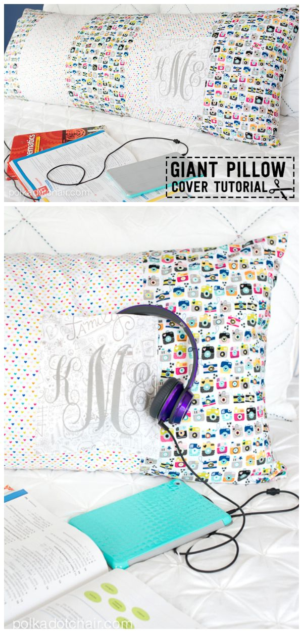 A free body pillow sewing pattern, a cute pillowcase for a body pillow that you can DIY, makes a great gift or a dorm room decorating idea.