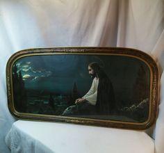 "Vintage Giovanni Litho. print ""Jesus on Mount Olive"" (Christus Am Olberg). Art deco wood and plaster frame. 32.5"" x 16.5"" $174.99"