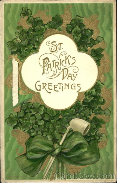 """""""St. Patrick's Day Greetings"""",antique postcard."""