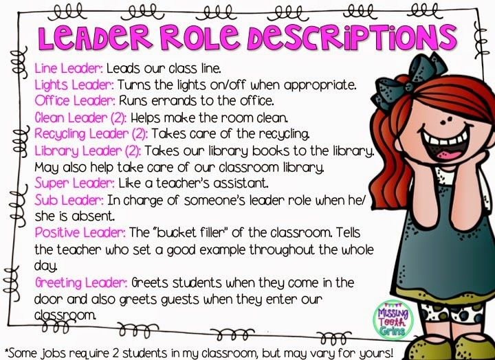 Here are some leadership role descriptions, similar to classroom jobs, to give your students a chance to lead in the classroom