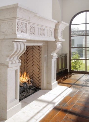 mediterranean living room by Carson Poetzl, Inc.: Ideas, Stones Fireplaces, Fireplaces Design, Living Room Fireplaces, Living Room Design, Livingroom, Formal Living Room, Fireplaces Surroundings, Mediterranean Living Rooms