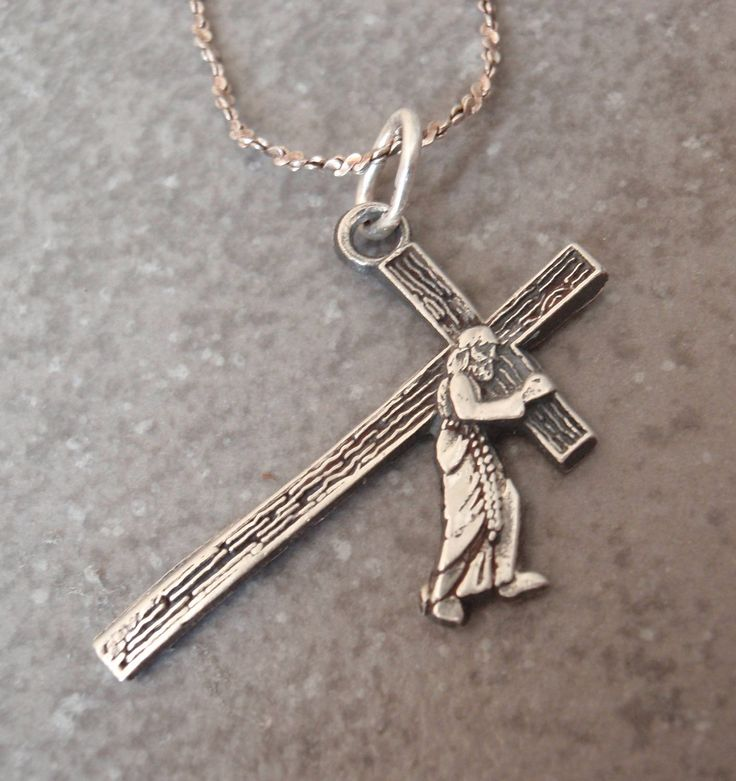 Jesus Carrying Cross Necklace Sterling Silver Vintage 032917BT by cutterstone on Etsy #Jesuscarryingcross #crossnecklace #sterlingsilver #vintage