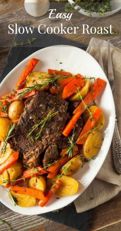Easy Slow Cooker Roast Recipe - Throw away your roast recipes and use this one. It's SO easy and super tender. I'm putting this one on the menu asap.
