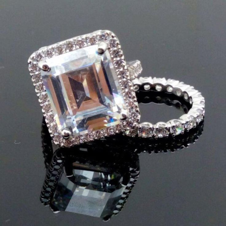 9ct white gold 8ct Emerald cut AAAAA grade cubic zirconia  bridal set by IsaBellaJewellery on Etsy
