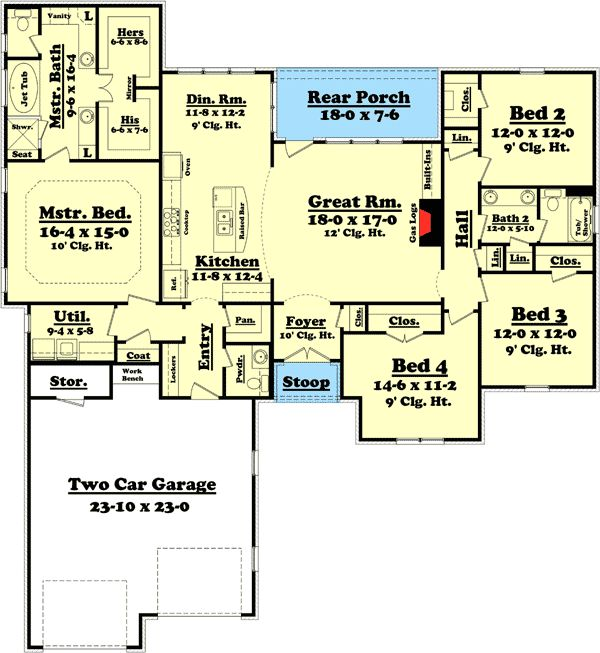 Plan 11774hz attractive 4 bedroom split bedroom house 4 room floor plan