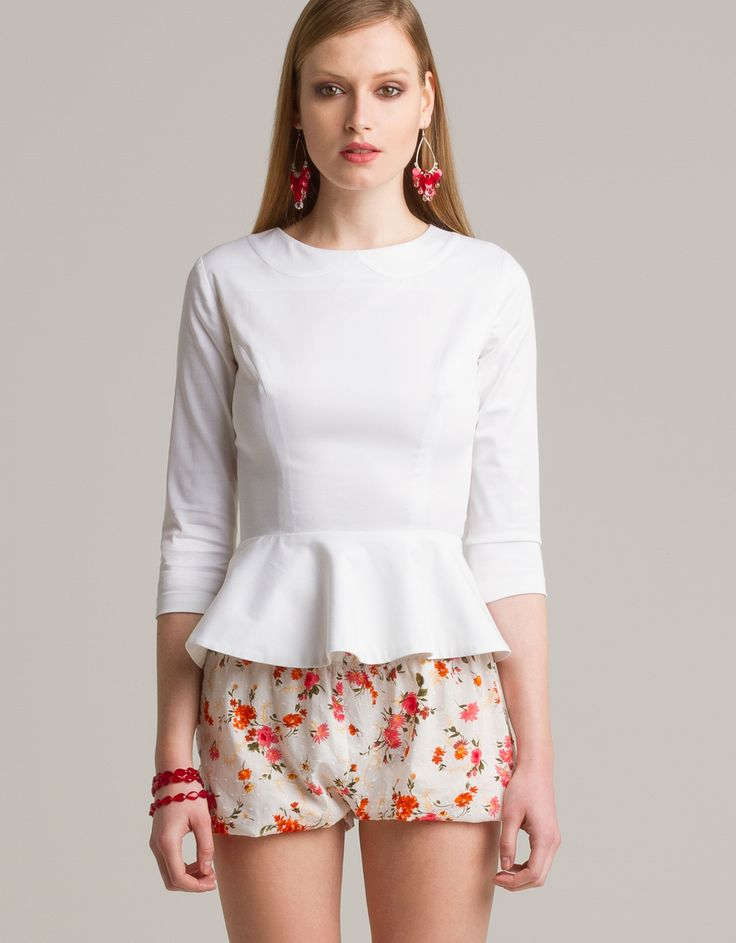 Peplum blouse and floral print shorts by eMManuela for Maison Academia http://shop.maisonacademia.com/collections/spring-summer-2013/products/0015b
