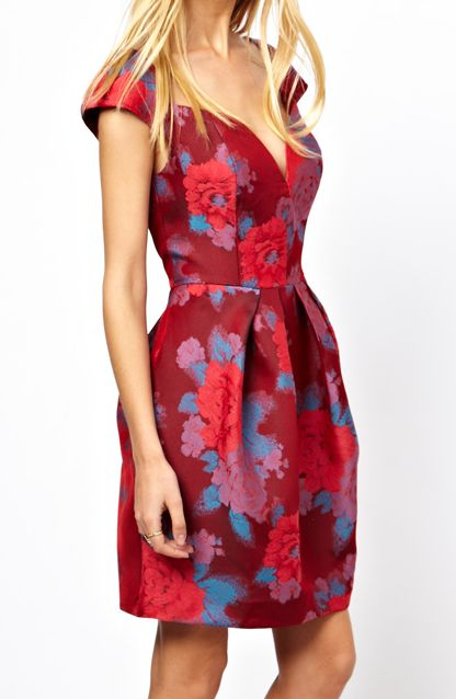 red floral dress for the holidays