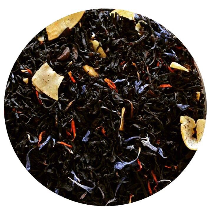 Sunday Tea is Sir  Bountiful Bounty Tea  Ceylon black tea, coconut slices, chocolate drops,   thistle flowers, cornflowers.   Infuse 2 to 3 minutes.  http://www.coxandbaloney.com/loose-tea-shop/