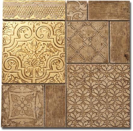 Diso mosaik no2, Handgjord marmormosaik i olika storlekar, här i guld.     Diso mosaic no2, Hand made marble mosaic in different sizes.