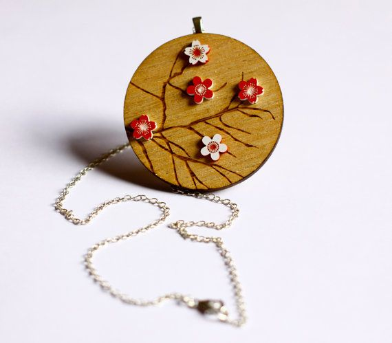 Wooden Japanese Cherry Blossom Necklace  red and by ShadeOfABonsai, $35.00