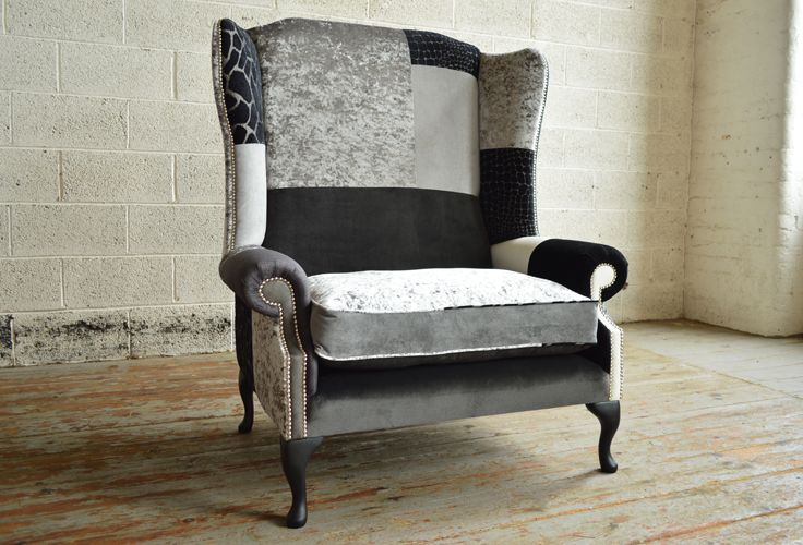 Modern British and handmade Dalton Patchwork Chesterfield Wing Chair. Totally unique fabric high back snuggle chair, shown in monochrome fabrics. | Abode Sofas