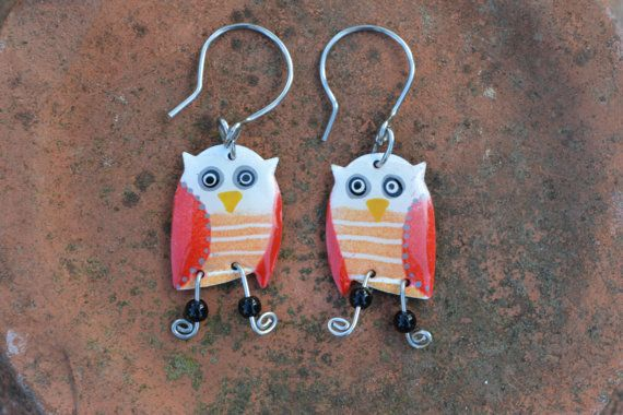 Cheerful Owl Earrings by #CinkyLinky. Check out this item in my Etsy shop https://www.etsy.com/listing/230821053/whimsical-owl-earrings-stainless-steel