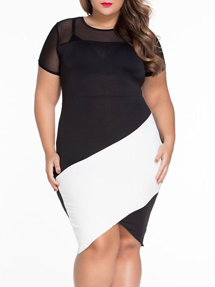 Crew Neck Hollow Out Split Color Block Plus Size Bodycon Dress Only $13.95 USD More info...