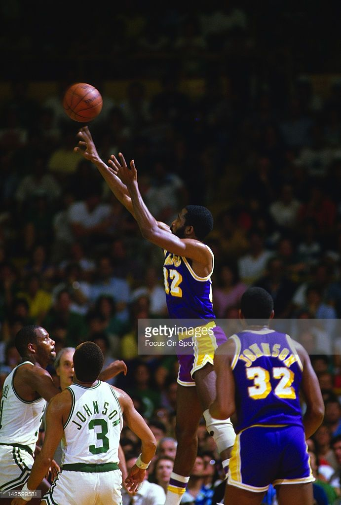 James Worthy #42 of the Los Angeles Lakers shoots over the Boston Celtics defense during the 1984 NBA Basketball Finals at the Boston Garden in Boston, Massachusetts. The Celtics won the Championship 4 games to 3.