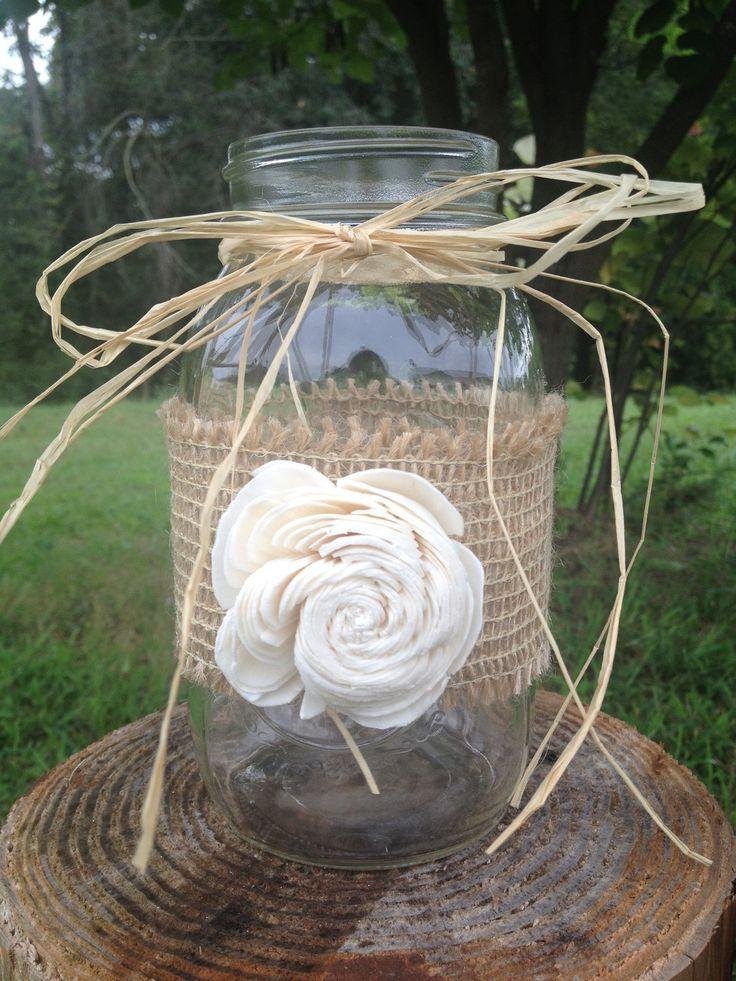 Shabby Chic Rustic Wrapped Mason Jar - Rustic Wedding Decor - Rusic Mason Jar - Wedding Centerpiece. $5.00, via Etsy.