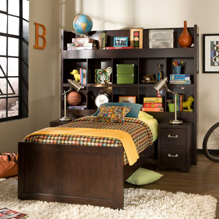smart solutions twin bookcase bed with 2 nightstands kids bookcase beds at hayneedle - Bookshelf Bed Frame
