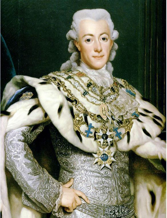 Gustav III of Sweden, 1777... A modern thinker, noted humanitarian & patron of the arts... Assassinated at 46 yrs  (and apparently asexual)... Such a waste.