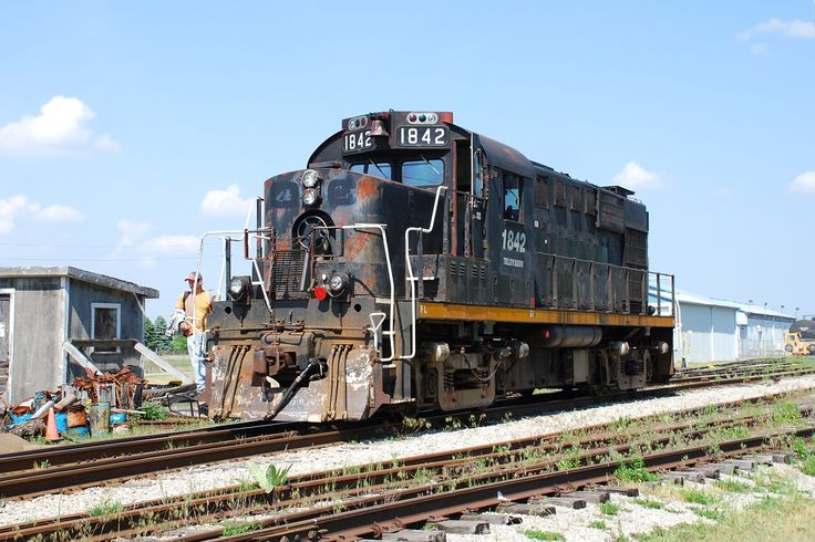 Former Ottawa Central RS-18 1842. Now on the Trillium Railway at Tilsonbury Ontario - May 2012