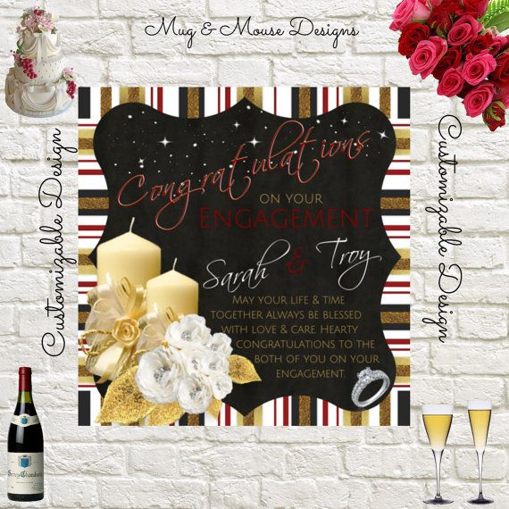 Engagement Greeting Card Printable Instant by MugandMouseDesigns
