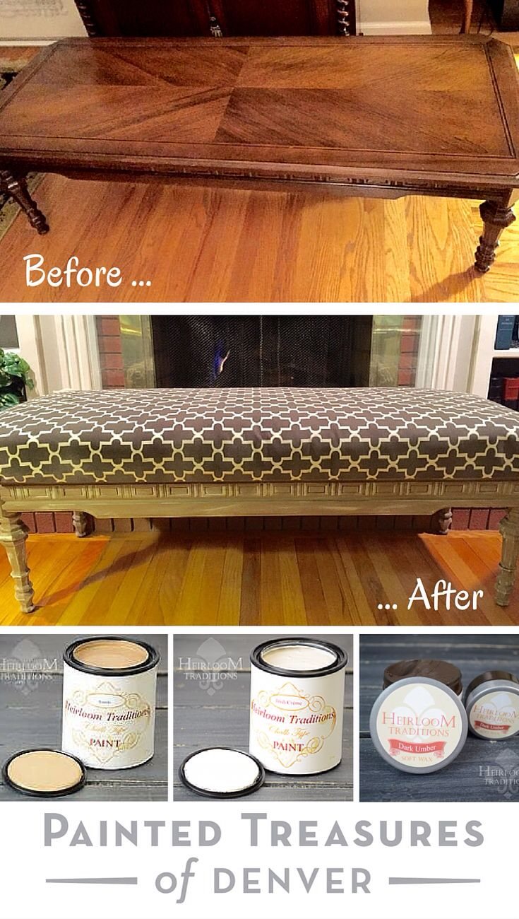 "Here's a coffee table flipped into upholstered, padded bench! First I cleaned the piece with a solution of Blue Dawn, vinegar and water in a spray bottle and 0000 steel wool. Then painted it in Heirloom Tradition's. Scanda chalk type paint and then dry brushed Irish Cream. Sealed with Dark Umber Wax and then Clear Wax wiped backed. Get these products  from http://heirloomtraditionspaint.mybigcommerce.com/ with coupon code ""PAINTEDTREASURES"""