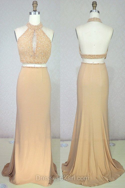 High Neck Prom Dresses, Halter Prom Dress, Two Piece Evening Dresses, Mermaid Party Dresses, Backless Formal Dresses