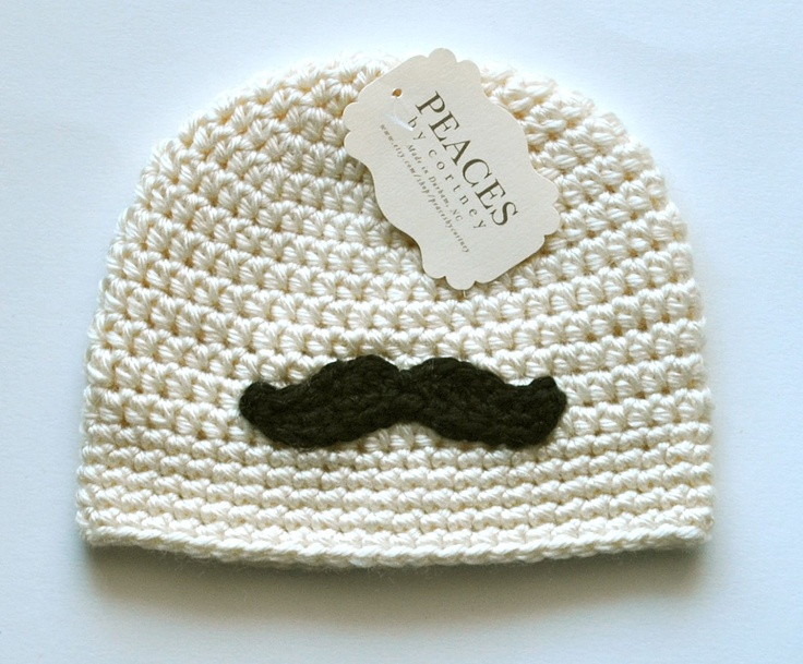 Baby Hats - Cream / Off White Mustache Baby Beanie Hat (Baby Gifts Baby Beanie Newborn Hat Crochet Baby Hat Newborn Hats Baby Beanies). $26.00, via Etsy.
