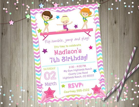 20 best gymnastics birthday images on pinterest birthday gymnastics birthday invitation invite gymnastics invitation tumbling cartwheels pink purple chevron rainbow choose your girl printable whats included stopboris Image collections