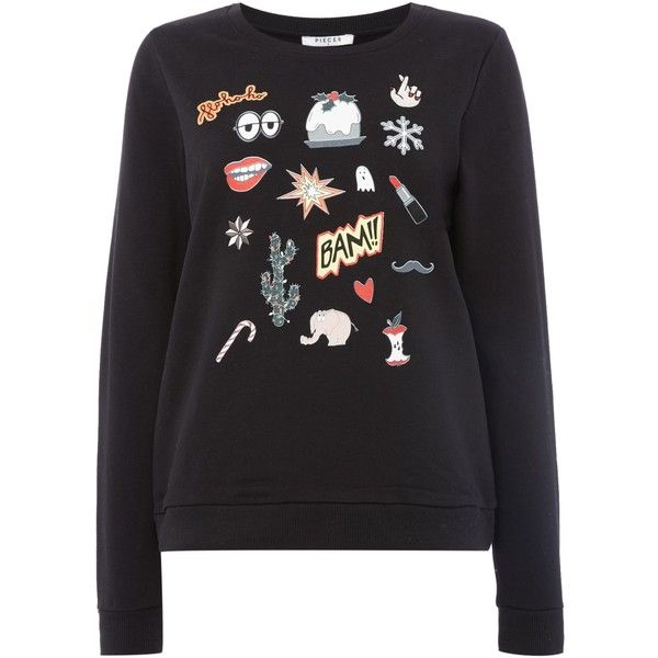 Pieces Comic print pyjama sweater ($43) ❤ liked on Polyvore featuring tops, sweaters, black, women, long sleeve sweater, cotton sweaters, long sleeve cotton tops, long sleeve tops and cartoon sweater