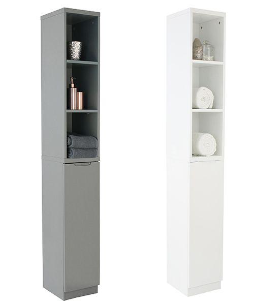 Stylish high-gloss slimline bathroom tallboy with single door and three open shelves. ...