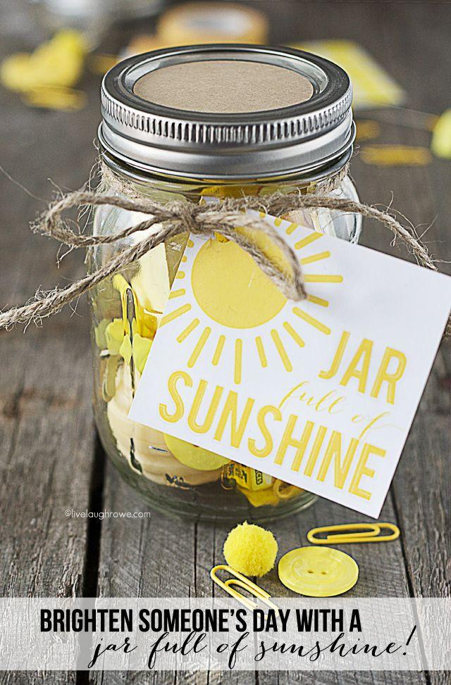Mason Jar Gift Idea - Jar Full of Sunshine  by livelaughrowe.com