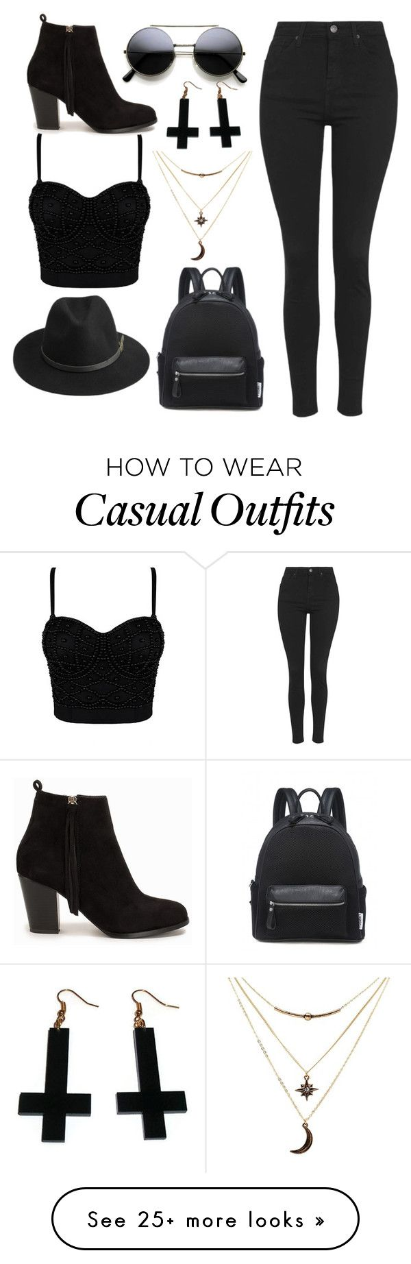 """""""black casual"""" by ruthjauregui on Polyvore featuring BeckSöndergaard, Topshop, Nly Shoes, Charlotte Russe and Chicnova Fashion"""