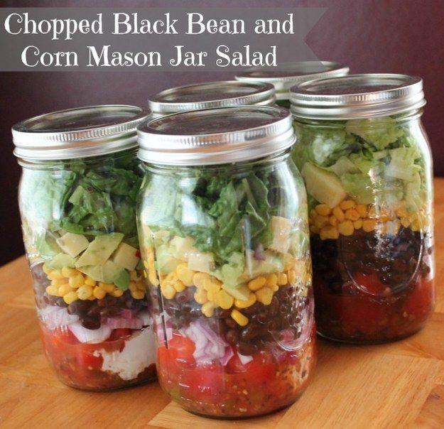 Chopped Black Bean And Corn Salad | 18 Mason Jar Salads That Make Perfect Healthy Lunches