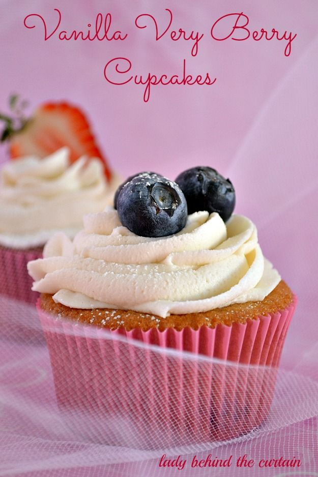 These Vanilla Very Berry Cupcakes are filled a an easy to make fruit filling surprise.  Elegant enough for a wedding reception but also perfect for a bridal shower or baby shower.