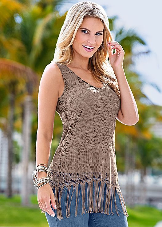 Be a trendsetter this spring..Venus crochet and fringe tank top.