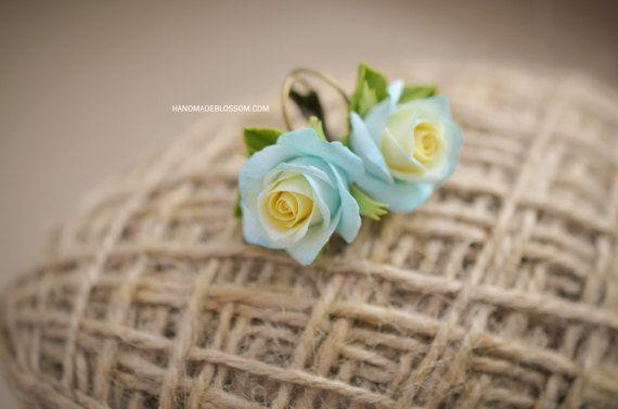 Handmade rose earrings Blue and yellow roses by HandMadeBlossom