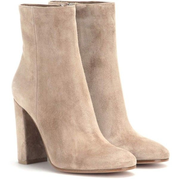 Gianvito Rossi Suede Ankle Boots (£575) ❤ liked on Polyvore featuring shoes, boots, ankle booties, heels, ankle boots, zapatos, neutrals, beige suede boots, heeled booties and heeled ankle booties