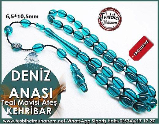 Teal Mavisi Ateş Kehribar Tesbih 6,5*10,5 mm Deniz Anası Ürün Kodu: TM7500