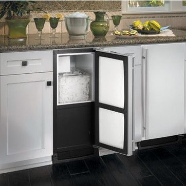 I love the idea of turning a Wet Bar into a Smoothie Station. The (old) sink's water line can be used for something important... like an Under Counter Icemaker. Whey and blender jars in upper cabinets with ice below... What a life! | U-Line BI2115S Icemaker available at Jamie Gold, CKD, CAPS