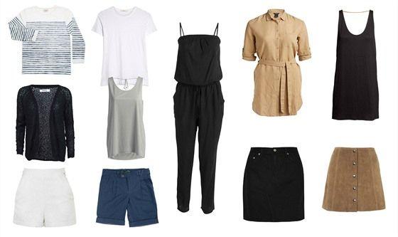 Oblečení na kratší dovolenou: pruhované bavlněné tričko s dlouhým rukávem Armor Lux, prodává Denim Heads; bílé tričko s krátkým rukávem Adam Lippes, prodává Net-a-porter; černý lehký kardigan Only, prodává Zoot.cz; šedé tílko, Lindex; bílé šortky s vysokým pasem, Topshop; tmavě modré šortky, La Femme Mimi; černý overal na ramínka, Lindex; béžové košilové šaty s páskem, Lindex;  černé volné šaty ke kolenům, H&M; černá denimová sukně Rag&Bone, prodává Net-a-porter; semišová mini sukně, Topshop