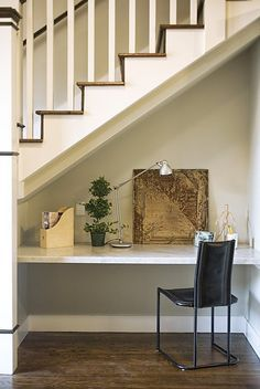 Under the Stairs Ideas. The small dimensions of the space under the stairs  make it ideal for creating a cozy reading corner.
