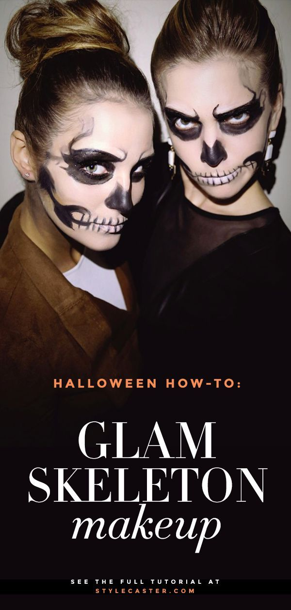 Halloween Skeleton Makeup Tutorial: Scary cool and surprisingly easy. Also makes a great last-minute Halloween costume! | Get the full tutorial at  StyleCaster.com